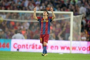 Leo Messi of Barcelona celebrates goal during spanish league match.